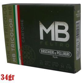 Φυσίγγια κυνηγιού μάλλινη τάπα B&P Tricolor Cartone Feltro 34gr
