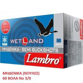 Φυσίγγια κυνηγιού μηδενικά (νούλες) 60βολα Lambro Wetland Nο3/0